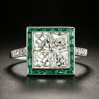 Art Deco Style French-Cut Diamond and Calibre Emerald Ring - 2