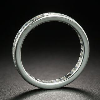 Art Deco Style French Cut Diamond Eternity Wedding Band, Size 6 1/2