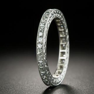 Art Deco Style French-Cut Diamond Platinum Eternity Band - Size 6 3/4 - 2
