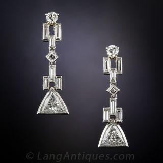 Art Deco Style Geometric Diamond Drop Earrings - 1