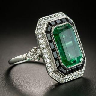 Art Deco Style Green Glass, Black Onyx and Diamond Ring