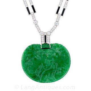 Art Deco Style Jade, Diamond and Onyx Necklace