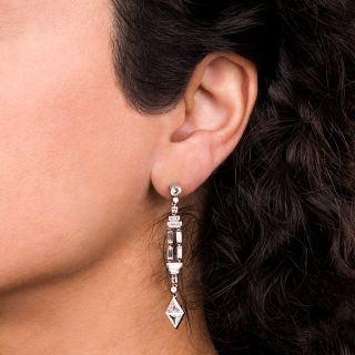 Art Deco Style Long Diamond Dangle Earrings