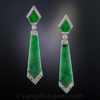 Art Deco Style Natural Burmese Jadeite and Diamond Earrings