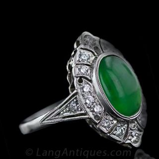 Art Deco Style Natural Jade and Diamond Ring
