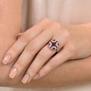 Art Deco Style No-Heat Ruby and Diamond Ring