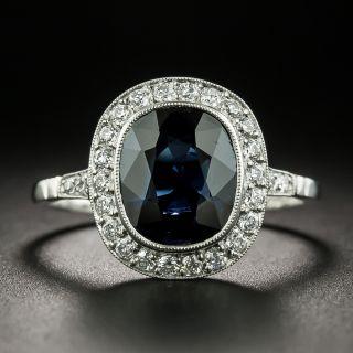 Art Deco Style No Heat Sapphire and Diamond Ring - 2