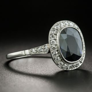 Art Deco Style No Heat Sapphire and Diamond Ring