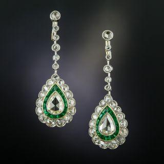 Art Deco Style Pear Shape Diamond Emerald Dangle Earrings - 2