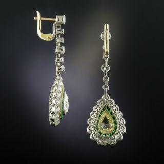 Art Deco Style Pear-Shaped Diamond Emerald Dangle Earrings