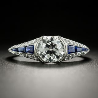 Art Deco Style Platinum 1.07 Carat Diamond and Sapphire Engagement Ring - GIA D SI1 - 2