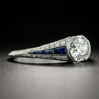 Art Deco Style Platinum 1.07 Carat Diamond and Sapphire Engagement Ring - GIA D SI1
