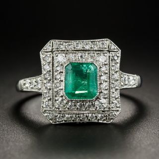 Art Deco Style Platinum Emerald Diamond Ring - 2