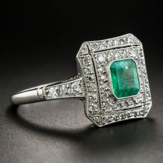 Art Deco Style Platinum Emerald Diamond Ring