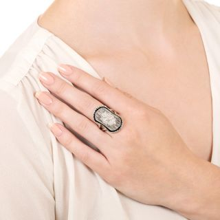 Art Deco Style Rock Crystal, Onyx and Diamond Ring