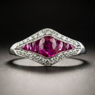Art Deco Style Ruby Diamond Ring - 1