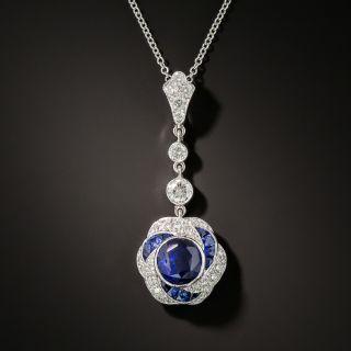Art Deco Style Sapphire and Diamond Drop - 2
