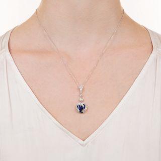 Art Deco Style Sapphire and Diamond Drop