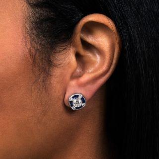 Art Deco Style Sapphire and Diamond Earrings