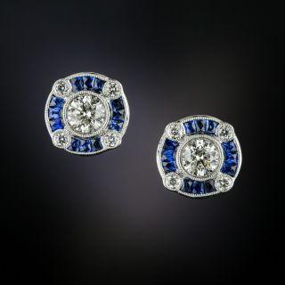 Art Deco Style Sapphire and Diamond Earrings - 3
