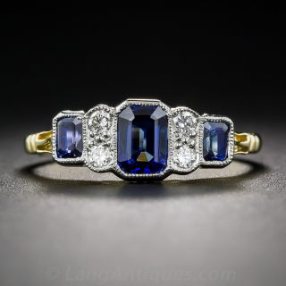 Art Deco Style Sapphire and Diamond Ring - 1
