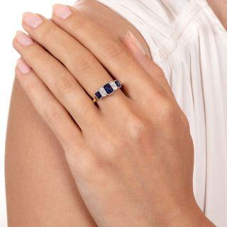 Art Deco Style Sapphire and Diamond Ring