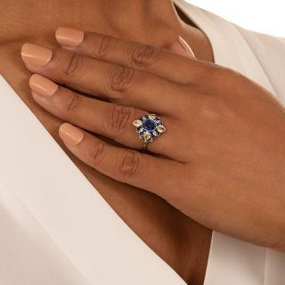Art Deco Style Sapphire and Pear Shape Diamond Ring