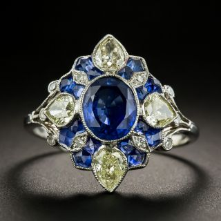 Art Deco Style Sapphire and Pear Shape Diamond Ring - 1