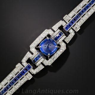 Art Deco Sugarloaf Sapphire and Diamond Bracelet - 2