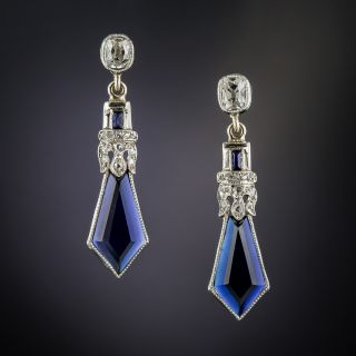 Synthetic Sapphire and Diamond earrings - 2