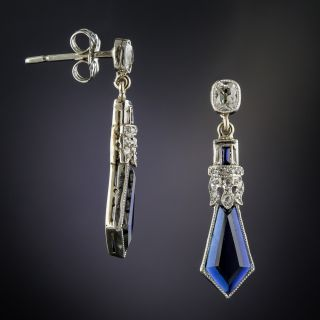 Art Deco Synthetic Sapphire and Diamond Earrings