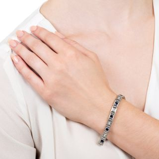 Art Deco Synthetic Sapphire and Diamond Line Bracelet