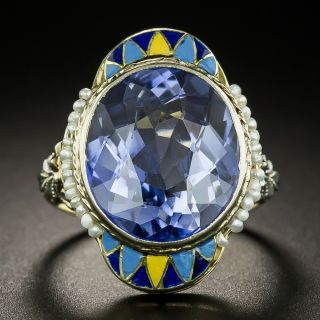Art Deco Synthetic Sapphire, Seed Pearl and Enamel Ring - 2
