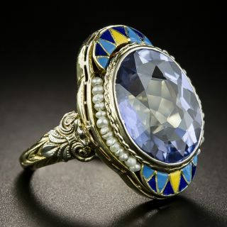Art Deco Synthetic Sapphire, Seed Pearl and Enamel Ring by J.J. White