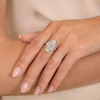 Art Deco Three Marquise Diamond Dinner Ring