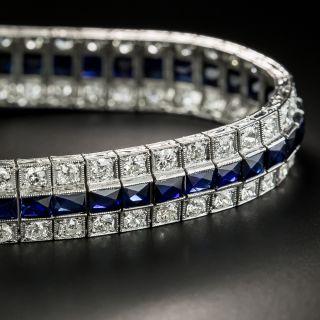 Art Deco Three Row Diamond and Synthetic Sapphire Bracelet  - 5