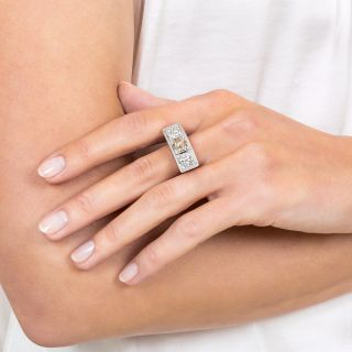Art Deco  Three-Stone Diamond and  Platinum Ring