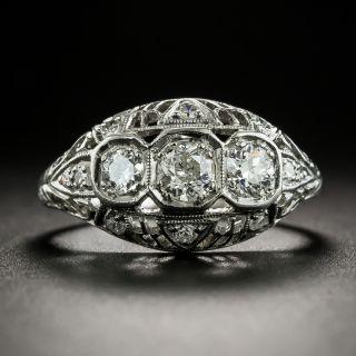 Art Deco Three-Stone Diamond Pierced Dome Ring  - 2