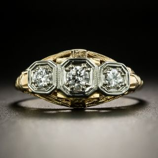 Art Deco Three-Stone Diamond Ring by Kelbanoff & Grossman - 1