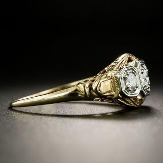 Art Deco Three-Stone Diamond Ring by Klebanoff & Grossman