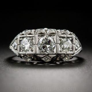 Art Deco Three-Stone Platinum and Diamond Ring - 1