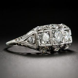 Art Deco Three-Stone Platinum and Diamond Ring