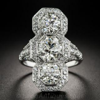 Art Deco Three Stone Platinum Diamond Dinner Ring - 4.65 Carats - 1