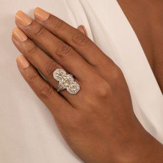 Art Deco Three Stone Platinum Diamond Dinner Ring - 4.65 Carats