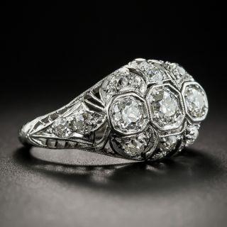 Art Deco Three-Stone Platinum Diamond Ring