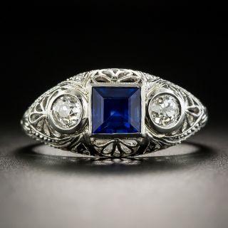 Art Deco Three-Stone Sapphire and Diamond Ring - 2