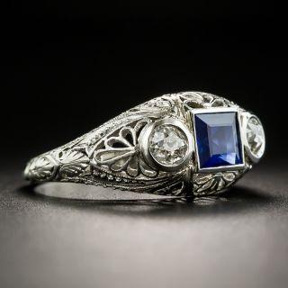 Art Deco Three-Stone Sapphire and Diamond Ring