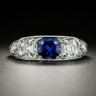 Art Deco Tiffany & Co. No Heat Sapphire and Diamond Three-Stone Ring - 3