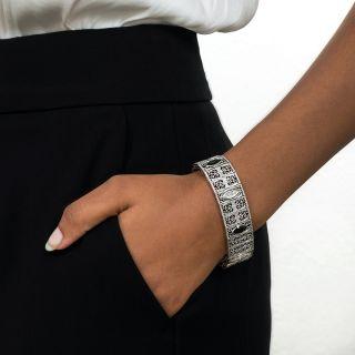Art Deco Tourmaline and Diamond Filigree Bracelet by Charles Keller