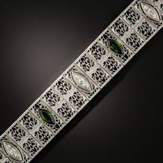 Art Deco Tourmaline and Diamond Filigree Bracelet by Charles Keller - 4